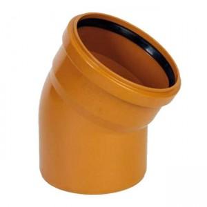 Колено d110x15 PVC наружная канализация класс N - Wavin