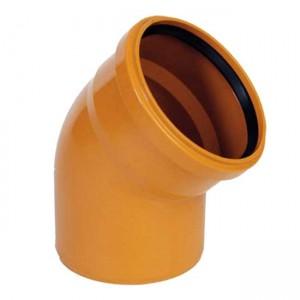Колено d110x45 PVC наружная канализация класс N - Wavin