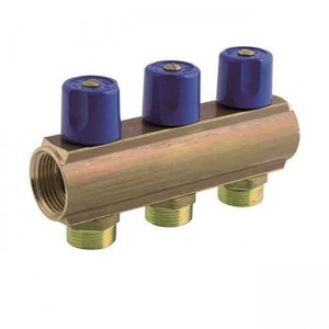 """Коллектор с вентилями синяя ручка на 2 вывода 1""""x2x3/4"""" 232E06050D - Bianchi"""