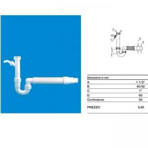 Сифон для мойки и подключения бытовой техники трубный с гофрой без выпуска DN40x1 1/2