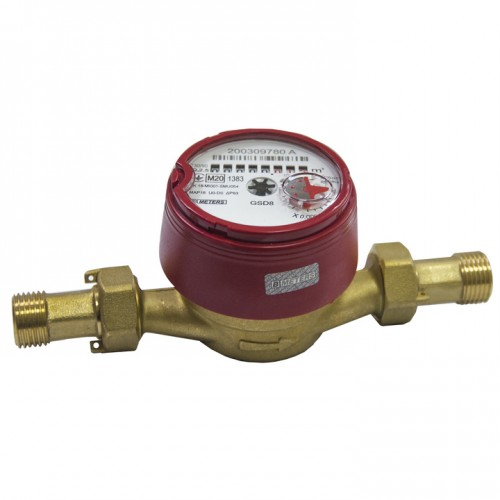 "Счетчик воды со штуцером  GSD8-I  R 100  Ø1/2""  ГВ  30°С-90°С  L=110 мм  Qn= 2,5 м³/г  B METERS S.R.L."